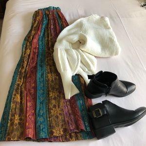 Multi colored midi pleated skirt